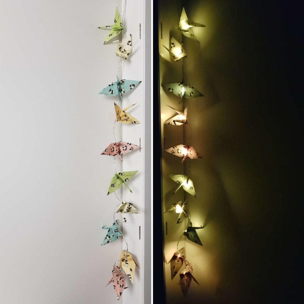 Lichterkette mit Kranichen - Origamidekoration