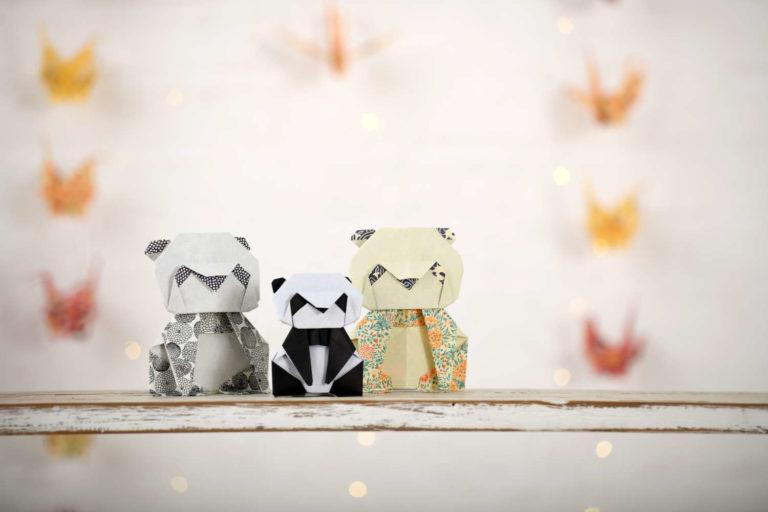 Origami Papierkunst Pandabär